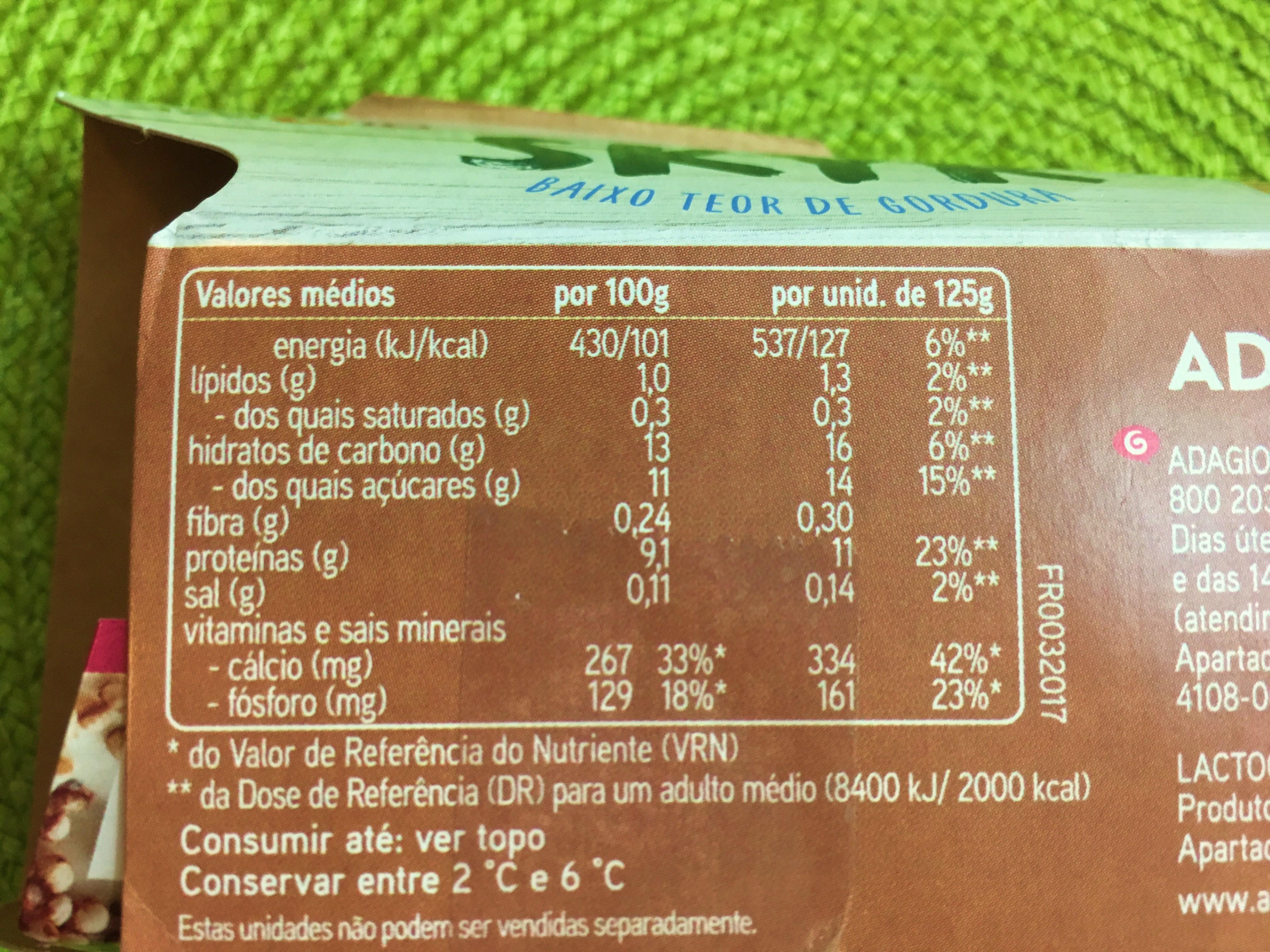 Iogurte Adagio Skyr Valor Nutricional