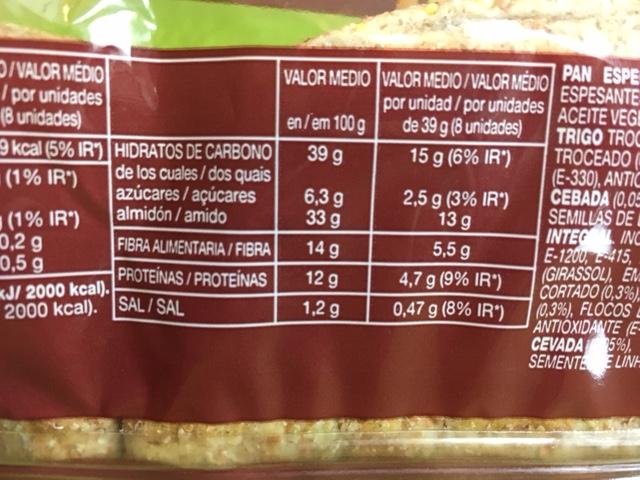 Pão Thins calorias