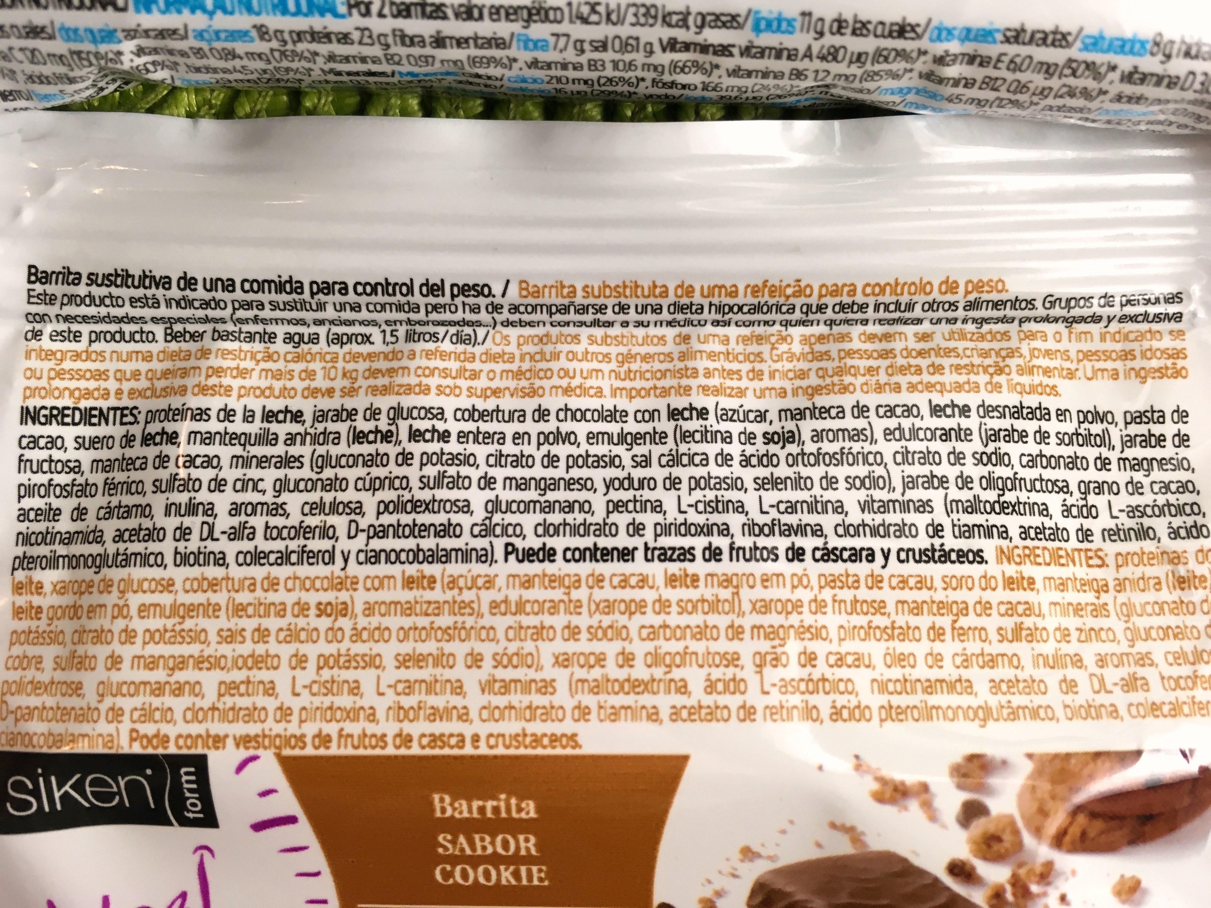 barras de substituição de refeição ingredientes