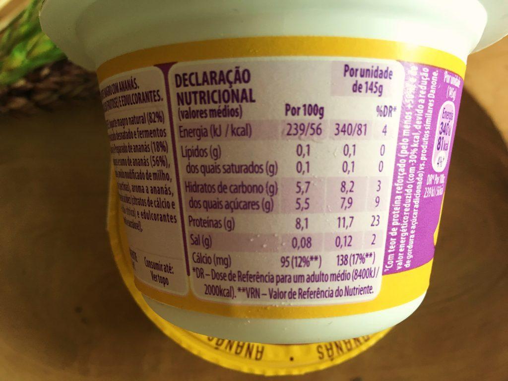 Danone + Proteína Ananás - calorias