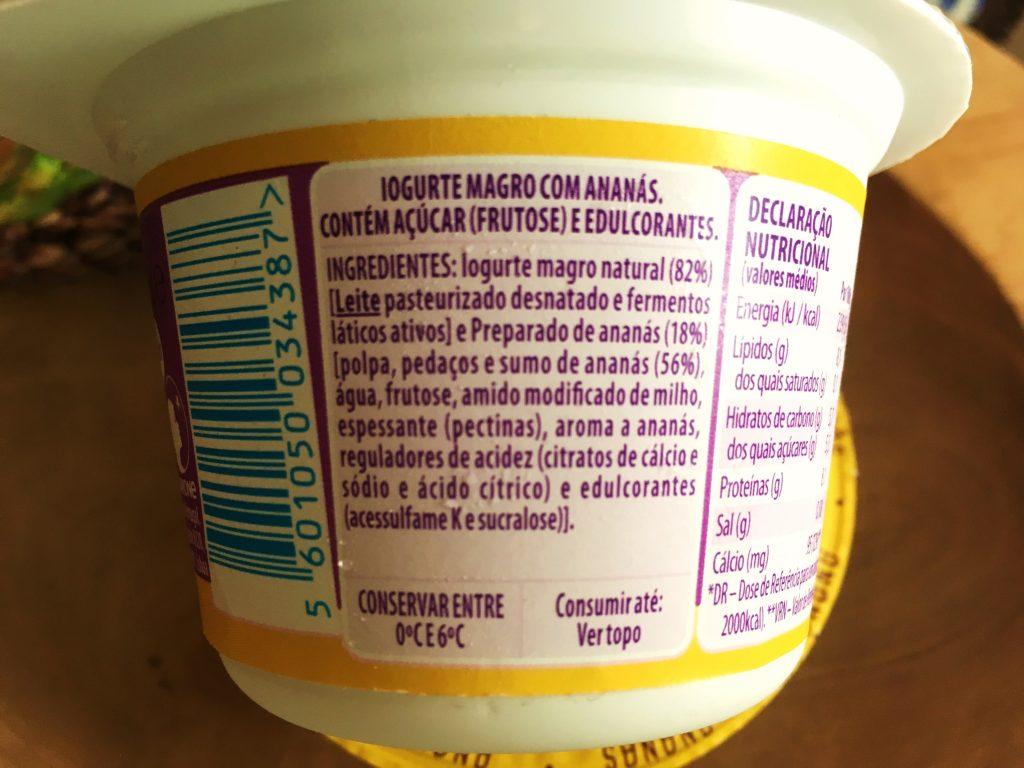 Danone + Proteína Ananás - ingredientes