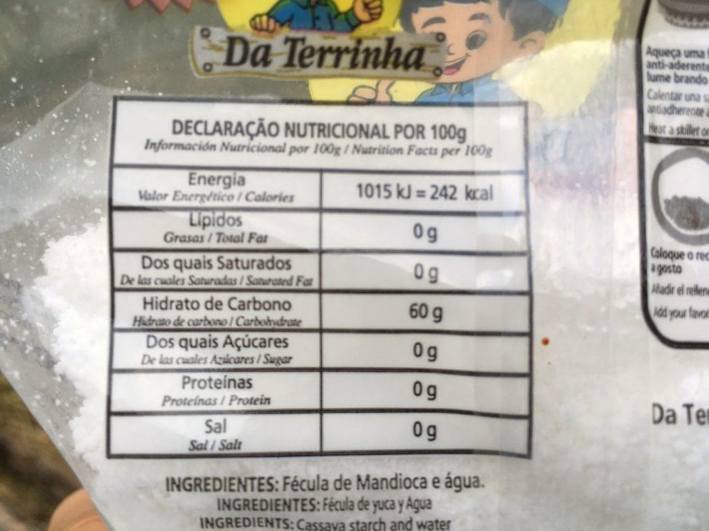 tapioca nutricao e ingredientes