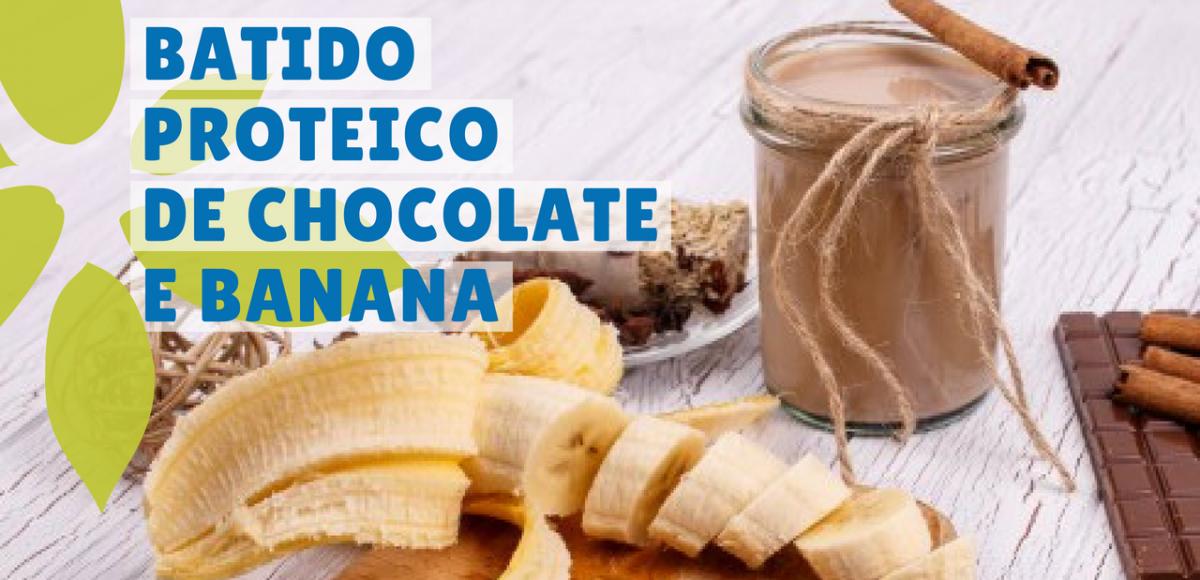 batido proteico de chocolate e banana sem whey