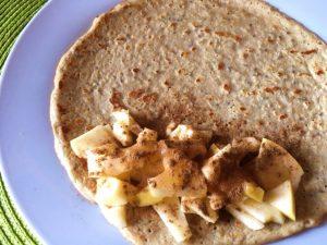 crepe proteico de maçã e canela - crepe recheio