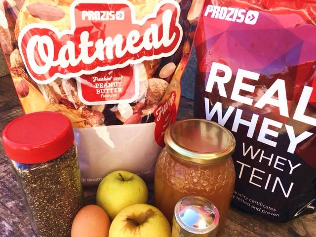 crepe proteico de maçã e canela - ingredientes