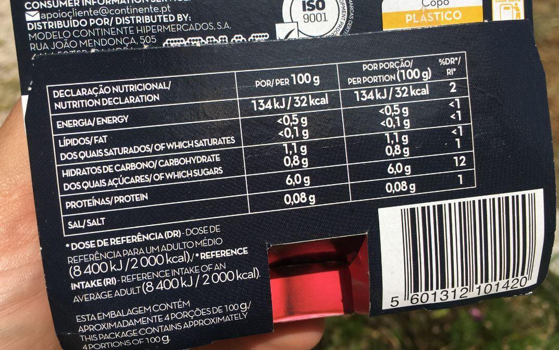 gelatina mais proteína continente declaração nutricional