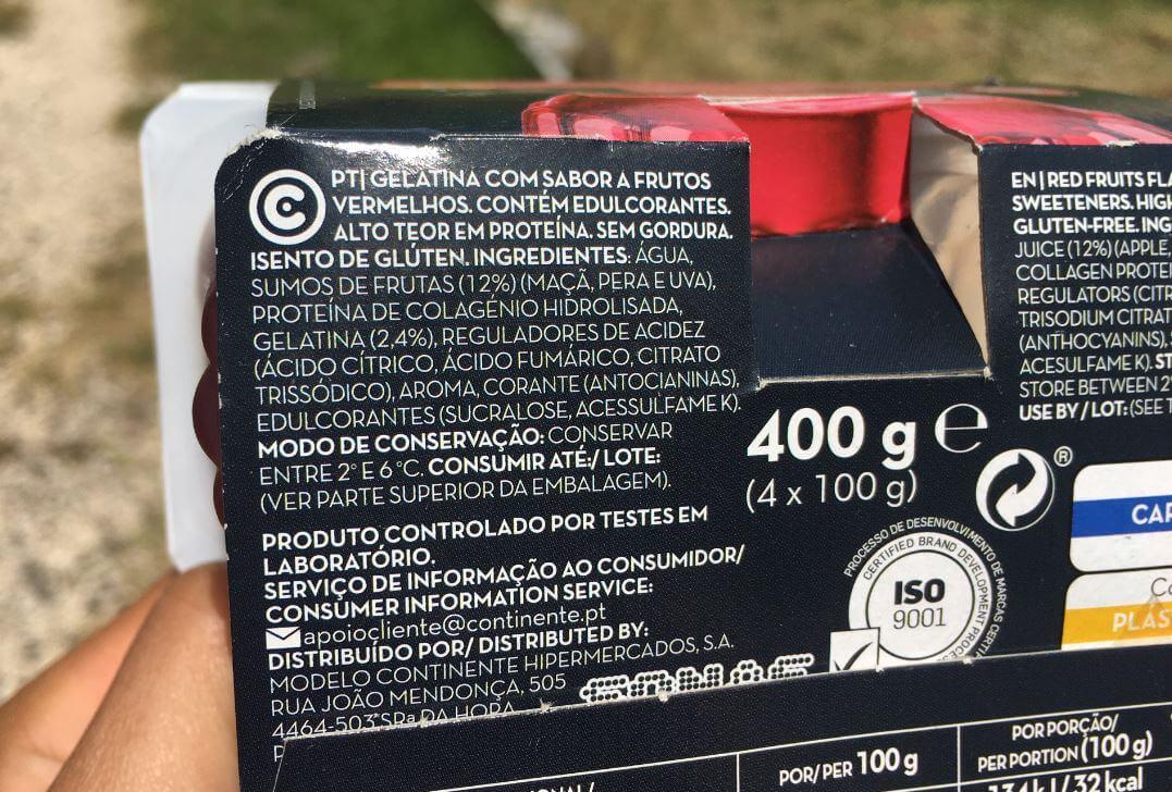 gelatina mais proteína continente ingredientes
