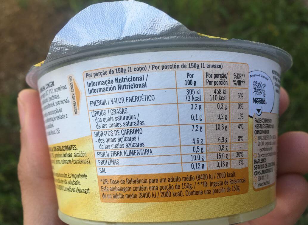 pudim proteico lindahls informação nutricional